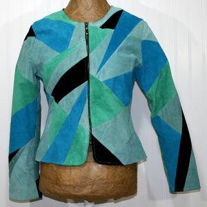VTG KAREN ARNOLD Patchwork Suede Leather Jacket